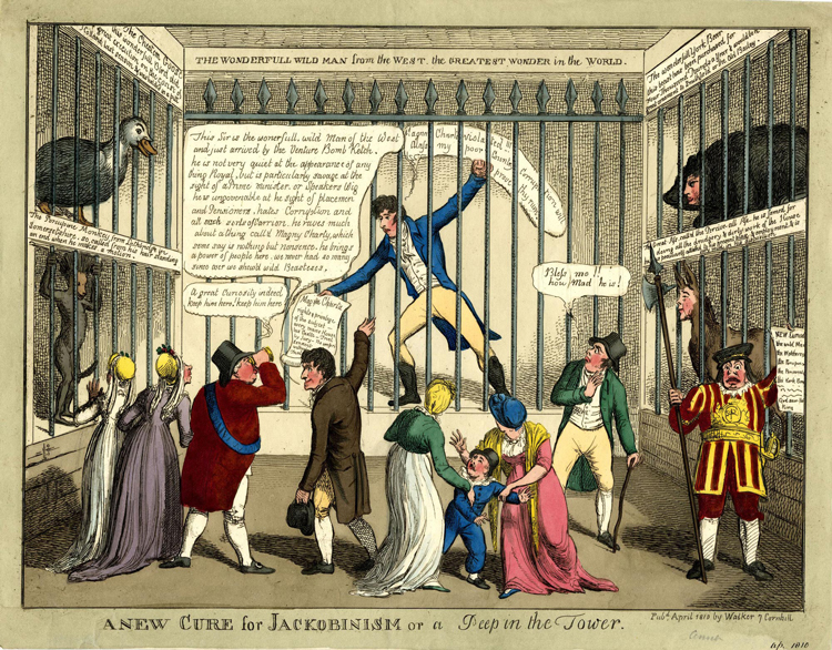 Satirical print of 'A New Cure for Jackobinism or A Peep in the Tower'