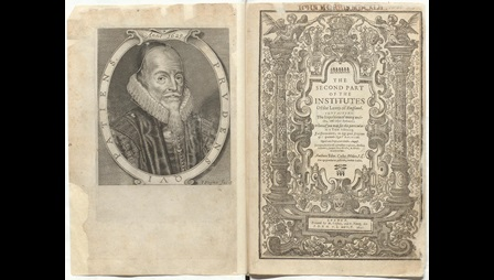Frontispiece and Titlepage of 'The Second Part of the Institutes of the Lawes of England'. Open book image. The left hand page shows a portrait of Edward Cooke. The right hand page, the title page, is decorated with grape vine entwined columns.