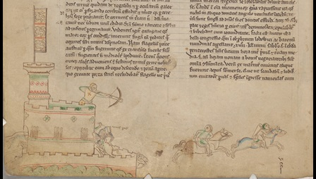 Manuscript page, the lower half of the page is shown here. The text is in two columns. The bottom margin is filled with a coloured line illustration. An archer shoots arrows from the top turret of a castle causing tow horsemen to flee the walls of the castle. The siege of Lincoln Castle and battle of Sandwich