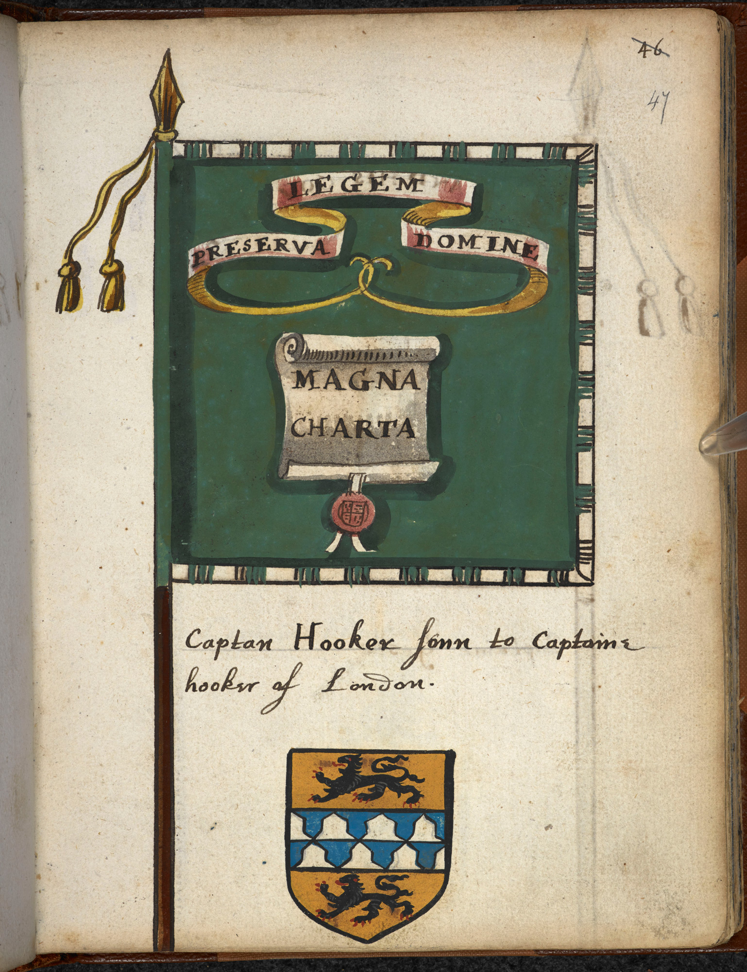 Sketches of regimental banners from the English Civil Wars