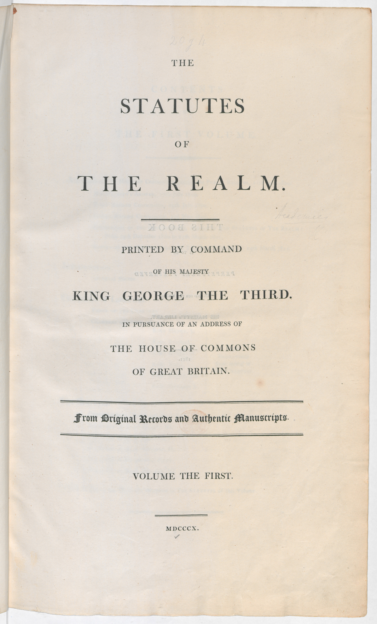 The statutes of the realm