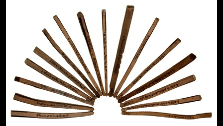 Tally sticks. 16 wooden stick arranged in a fan pattern. Markings can be seen on some of the sticks