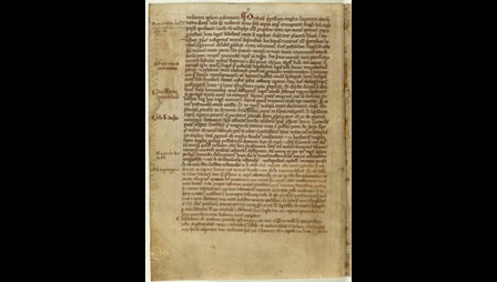 Manuscript page of text. Verse account of Magna Carta in the Chronicle of Melrose Abbey