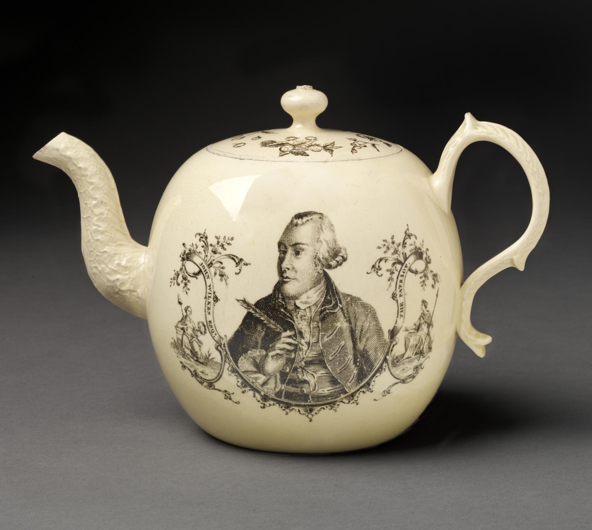 Wedgwood earthenware teapot designed by Thomas Billinge showing John Wilkes holding Magna Charta