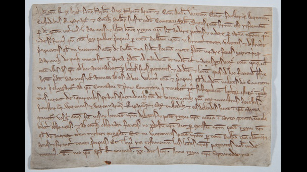 Manuscript page. Writ for publishing Magna Carta