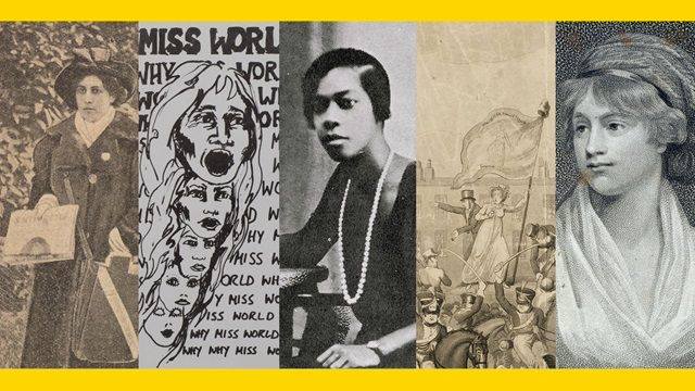 Collage containing a photograh of Sophia Duleep Singh, a Miss World protest leaflet, photograph of Una Marson, print depicting Mary Fildes at Peterloo, and a drawn portrait of Mary Wollstonecraft