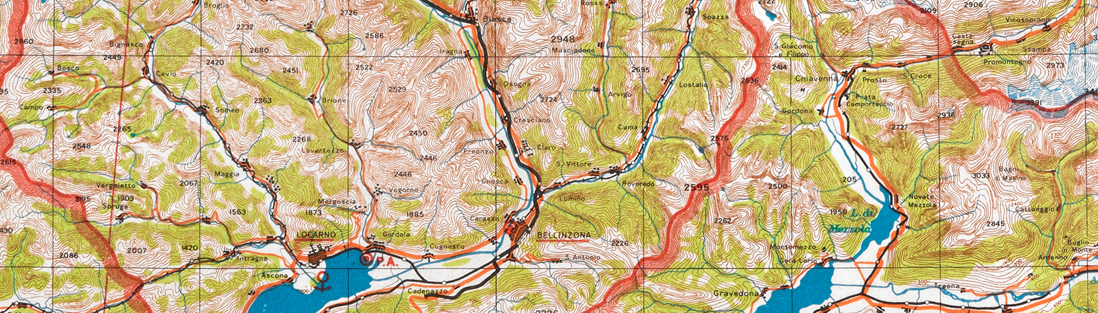 MI9's escape and evasion mapping programme banner CC.5.a.421 - St. Gotthard map