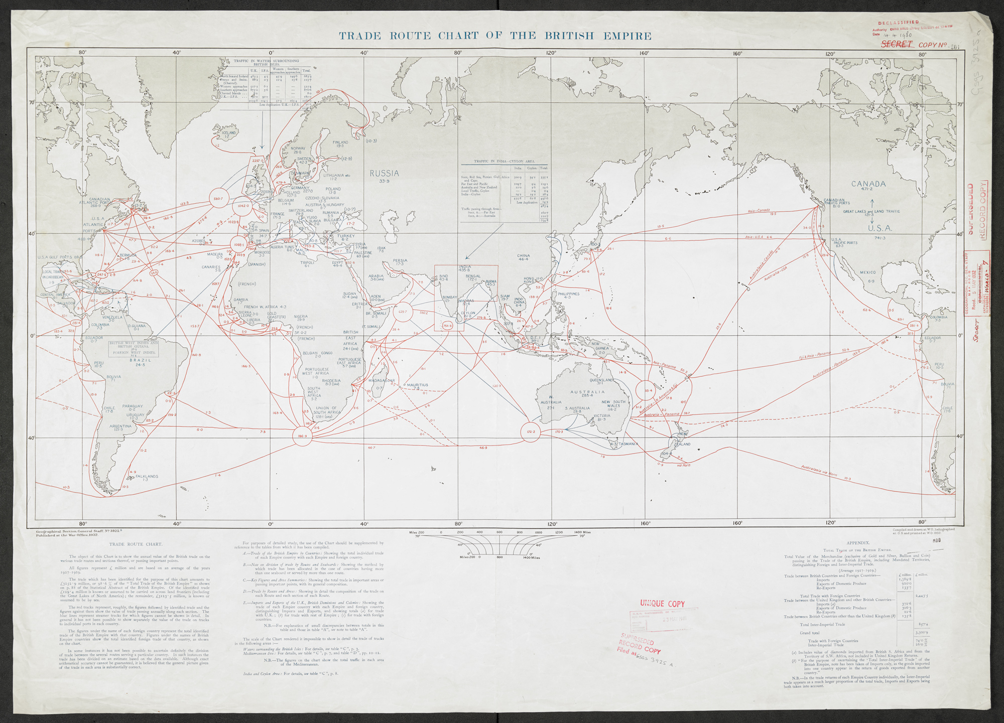Trade Route Chart of the British Empire (Maps MOD GSGS 3925a)