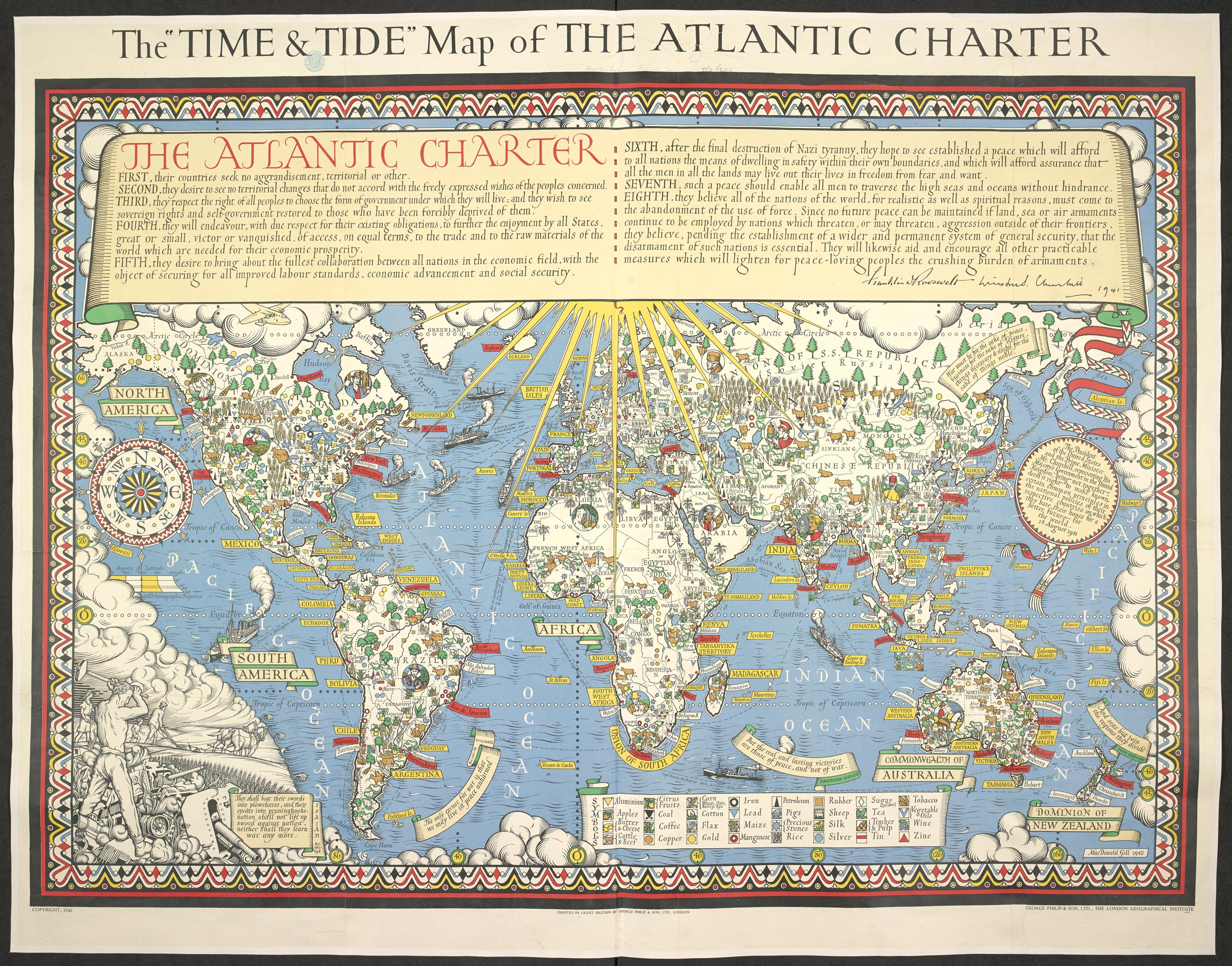 Map of the Atlantic Charter - The British Liry Charter Map on