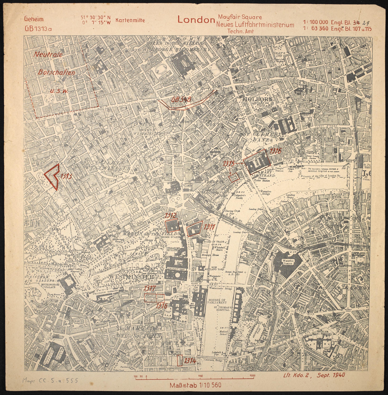 London Mayfair Square / Neues Luftfahrtministerium Techn. Amt. (Maps CC.5.a.555.)