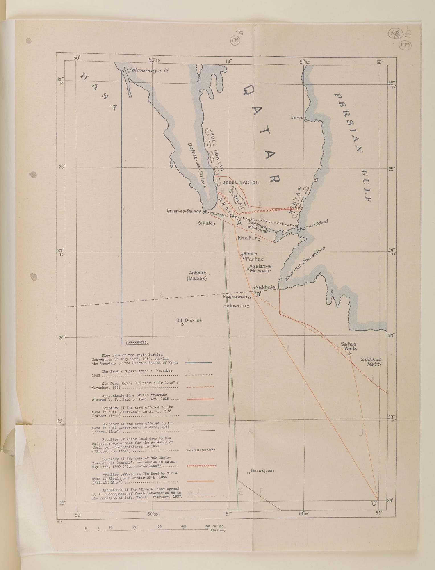 Map of Qatar and parts of Saudi Arabia