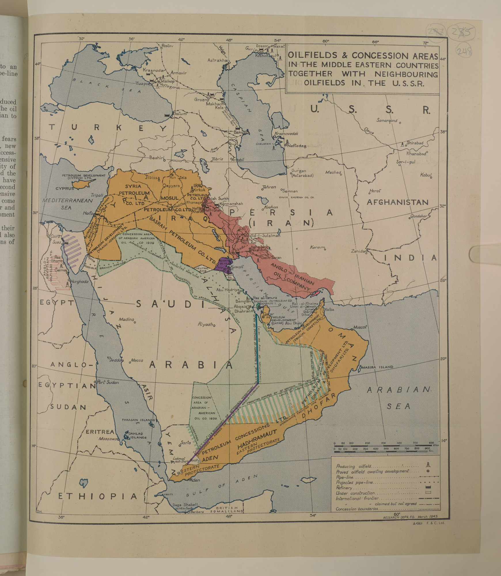 Oilfields & concession areas in the Middle Eastern Countries