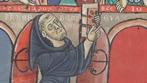 An illustration of a kneeling monk holding up a manuscript, from a collection of penitential texts.