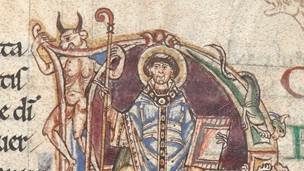 A decorated initial containing a representation of St Denis alongside a demon, from a 12th-century Passionale.