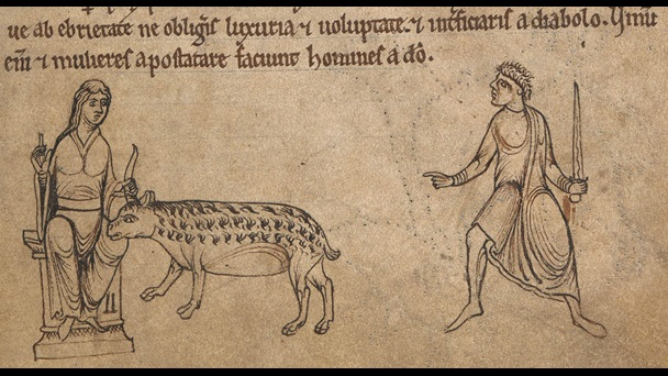 An illustration of a unicorn from a 12th-century bestiary.