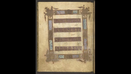 An Incipit page from a 9th-century Gospel-book, showing an elaborately decorated frame.