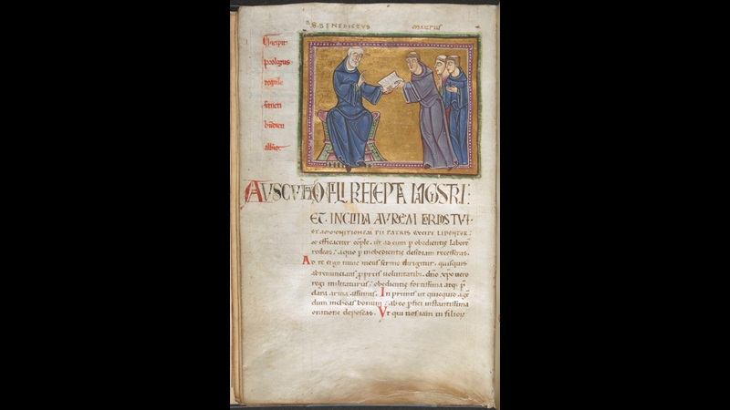 A page from a 12th-century copy of the Rule of St Benedict, showing an illustration of St Benedict handing the Rule to St Maurus and two monks.