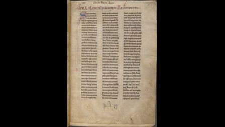 A prefatory letter arranged in three columns from a late 12th-century manuscript.