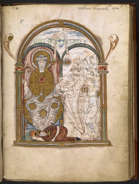 A full-page illustration of a group of monks presenting a copy of the Benedictine Rule to St Benedict, from the Eadui Psalter.