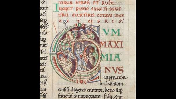 A decorated initial containing a representation of the martyrdom of St Demetrius, from a 12th-century Passionale.