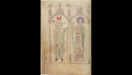 A portrait of St Germain and St Vincent, from a copy of Origen's Homilies on the Old Testament.