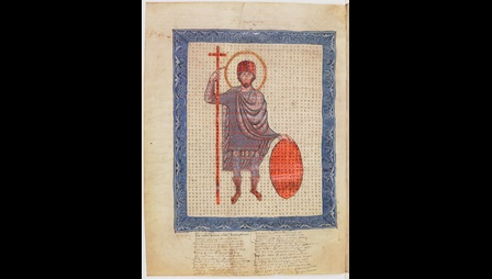 An illustrated page from an 11th-century manuscript of Hrabanus Maurus' In Praise of the Holy Cross.