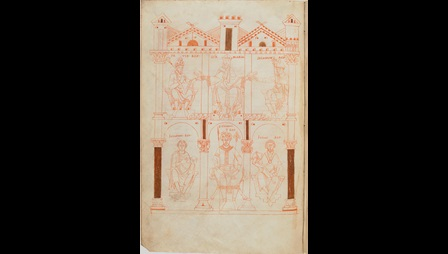 Drawings of Old Testament figures in an architectural setting, from an 11th-century Gospel-book.