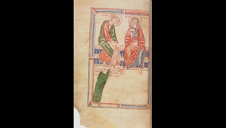 An illustration of a monk offering a book to Sts Peter and Andrew, from a copy of a liturgical treatise by Amalarius of Metz.