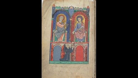 An illustration of a kneeling monk offering a book to St Peter and St John the Evangelist, from a collection of penitential treatises.