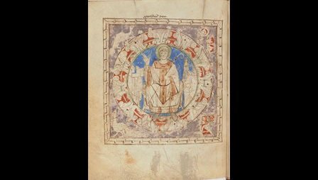 A page from an 11th-century copy of The Life and Miracles of St Germain, showing a painted illustration of the saint.