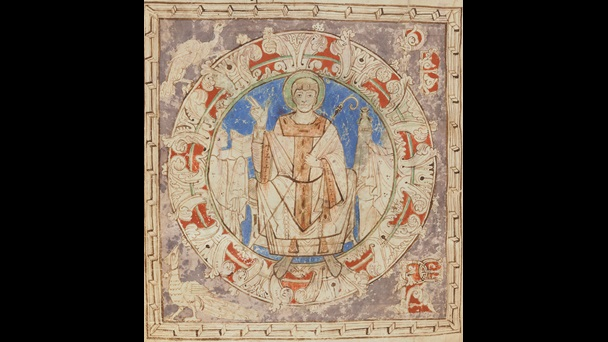 An illustration of St Germain, from an 11th-century copy of a text detailing his life and miracles.