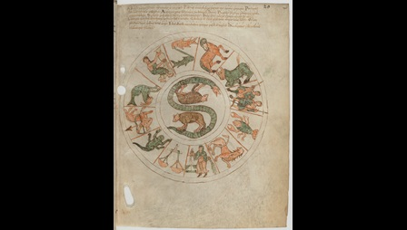 A page from a miscellany of works on computus and astrology, showing a diagram of the signs of the zodiac.