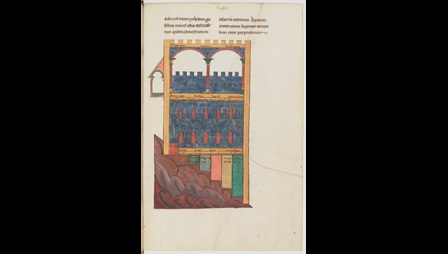 A full-page diagram of the elevation of the temple of Ezekiel, from a 12th-century manuscript of Richard of St Victor's theological works.