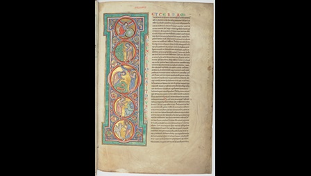 A page from a 12th-century manuscript of two historical works by Flavius Josephus, with a decorated initial containing scenes from Creation.