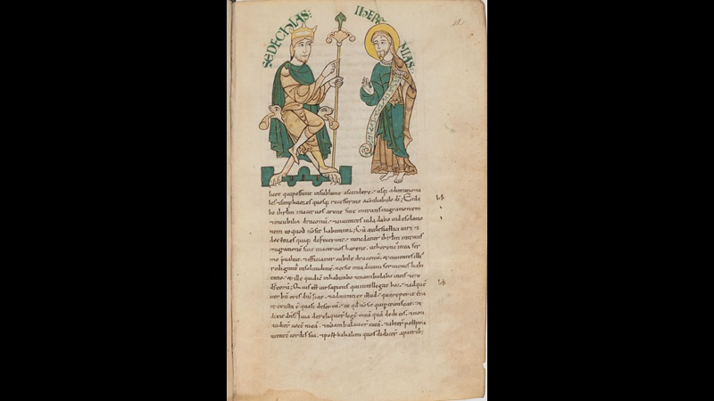 A page from a manuscript of St Jerome's Commentary on Jeremiah, showing an illustration of Jeremiah standing before King Zedekiah.