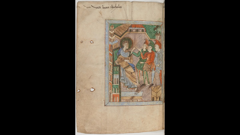 A page from an 11th-century copy of The Life and Miracles of St Nicholas, showing an illustration of St Nicholas and three officers of the emperor Constantine.