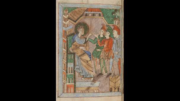 An illustration of St Nicholas and three officers of the emperor Constantine, from an 11th-century copy of a text detailing his life and miracles.