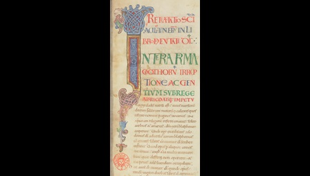 A large interlace initial from an 11th-century manuscript of St Augustine's De civitate Dei.