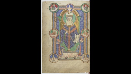 A full-page portrait of St Gregory the Great, from a 12th-century collection of his letters.
