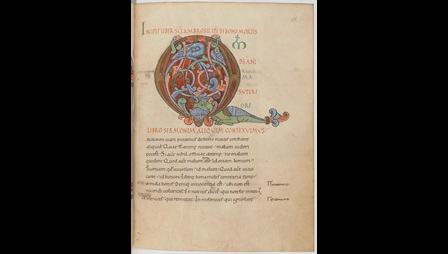 A page from an 11th-century collection of works by St Ambrose, showing a large decorated initial.