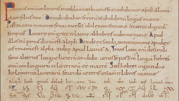 A passage detailing the names and letter forms of the Hebrew alphabet, from a manuscript of Hrabanus Maurus' De inventione linguarum.