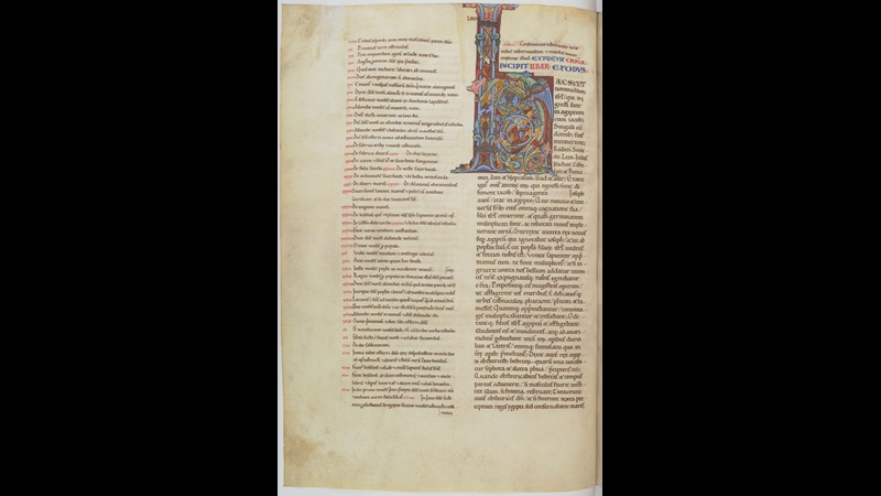 A page from the Chartres Bible, with a decorated initial marking the beginning of the Book of Exodus.