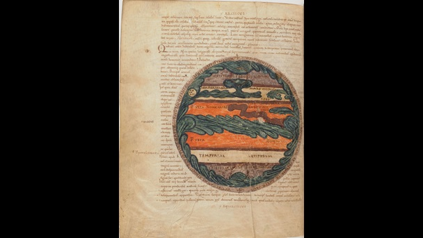 A painted zonal map from a manuscript of Macrobius' Commentary on the Dream of Scipio.