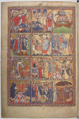 A page from the Canterbury or Anglo-Catalan Psalter, showing 12 painted scenes from the Book of Genesis.