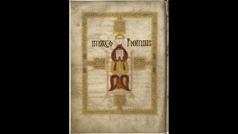 A page from the Echternach Gospels, showing a representation of a winged man, the Evangelist symbol of St Matthew.