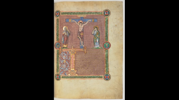 A page from the St Denis Missal, featuring an illustration of the Crucifixion.