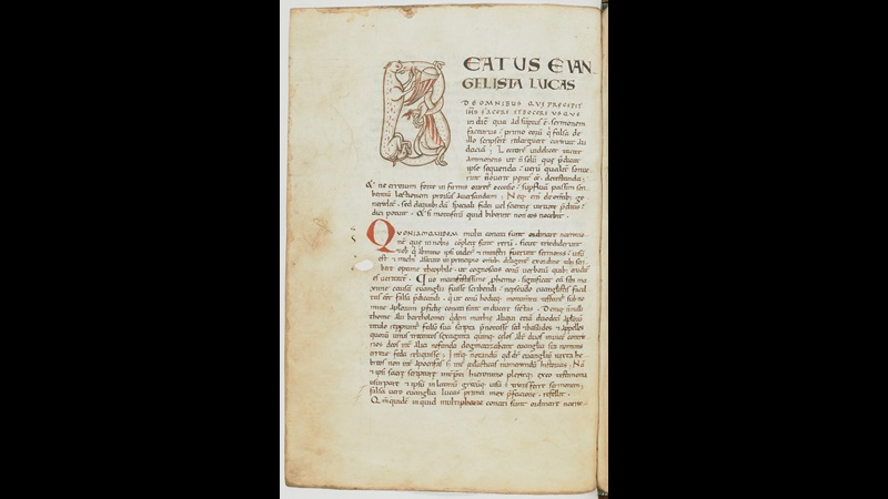 A page from an 11th-century copy of Bede's Commentary on the Gospel of St Luke, opening with a decorated initial.