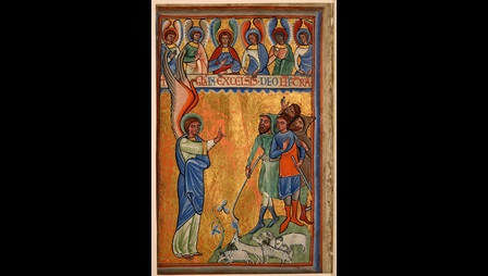 A painted illustration of the Annunciation to the Shepherds, probably from a 12th-century Psalter.