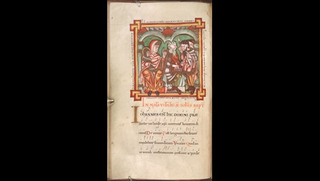 A page from the Caligula Troper, featuring an illustration of the naming of St John the Baptist and a chant with musical notation.
