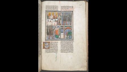 A page from a 12th-century collection of the letters of Thomas Becket, showing an illustration of the events of his martyrdom.